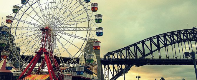 luna park sydney with ferris wheel and harbour bridge